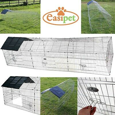 XXL Metal Run Rabbit Guinea Pig Chicken Duck Ferret Pet Enclosure Roof Hutch