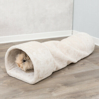 Trixie Plush Cuddle Tunnel Hide Away - Beigh - Rabbits & Guinea Pig Playtime