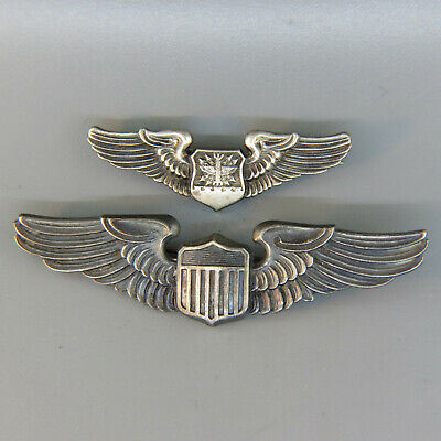 2 U.S. Military Sterling WWII USAF Pilot Wings