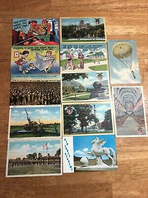 Lot of 12 Vintage Military Postcards