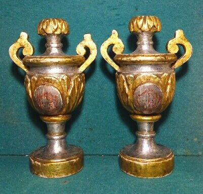 Antique 19th Century GILDED & SILVER LEAF CARVED WOOD PAIR OF AMPHORAS 226mm