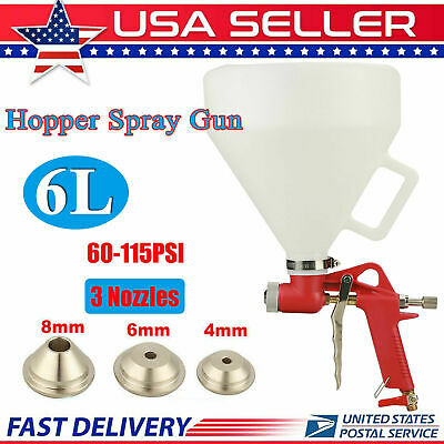 Aluminum Air Hopper Spray Gun Paint Texture Drywall Wall Painting with 3 Nozzles