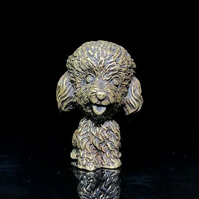Fengshui Chinese Old Brass Handwork Collectible Vintage Poodle Ornament Statue