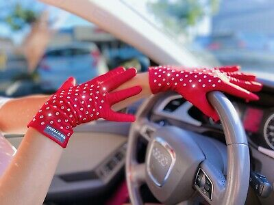 Grocery Gloves, Bling Red Gloves with Rhinestones, Fancy Women Gloves