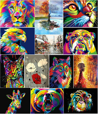 Children Paint By Number Kit DIY Oil Painting Dog Tree Lion Eagle Bear Pattern