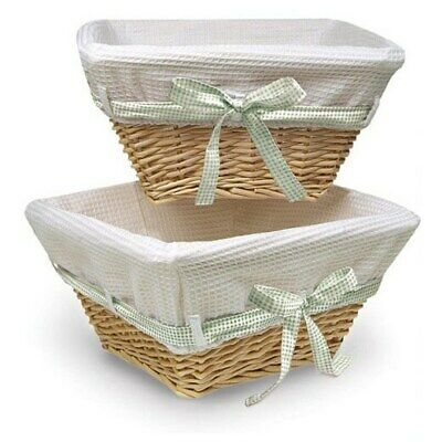 Natural Basket Set with Waffle Liner and Colored Ribbons Multi