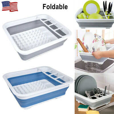 Kitchen Dish Cup Drying Rack Drainer Cutlery Holder Organizer Box Foldable NEW