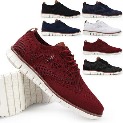 Mens Smart Wedding Shoes Formal Office Work Casual Dress Knit Brogues Shoes