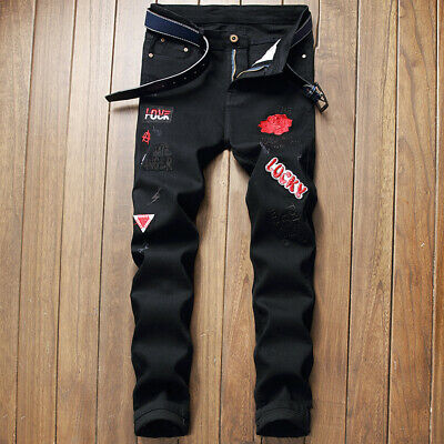 Men's Boys Black Denim Jeans Red Letters Ripped Casual Printed Trousers Pants