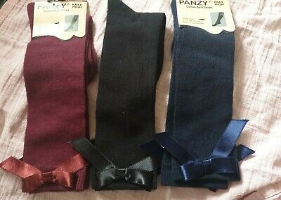 3 x Girls Knee High Socks Bow Size 3-5.5 or 1.5-2 Years Black Navy Burgundy