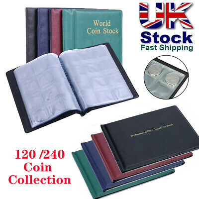 120/240 Album Coin Penny Money Storage Book Case Folder Holder Collection Coins