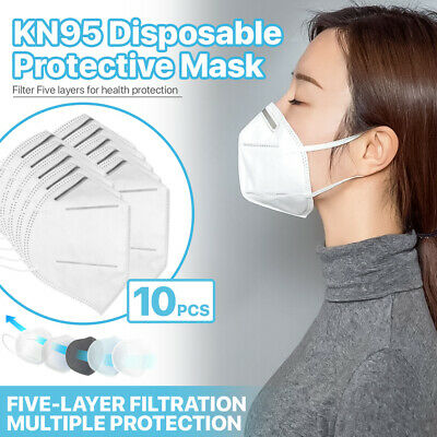 [10 PCS] KN95 Protective 5-Ply Face Mask >95% PM2.5 Disposable Respirator K-N95