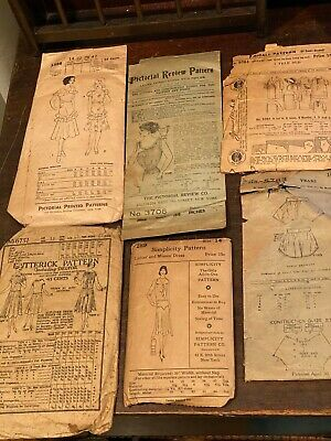 Lot of 6 Antiques Sewing Patterns McCall Butterick Simplicity Pictorial Review