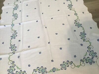 Vintage Rectangle Tablecloth, Linen, Embroidered Flowers, Paisley, Leaves