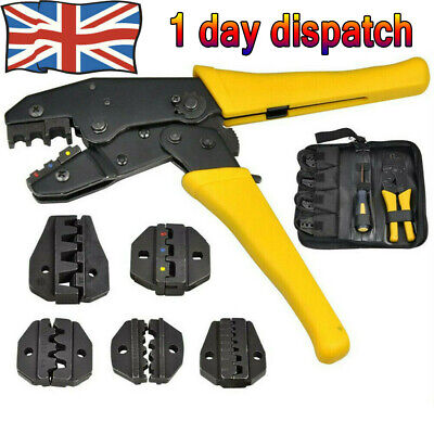 UK Ratchet Crimper Plier Crimping Tool Cable Wire Electrical Terminals Kit Set