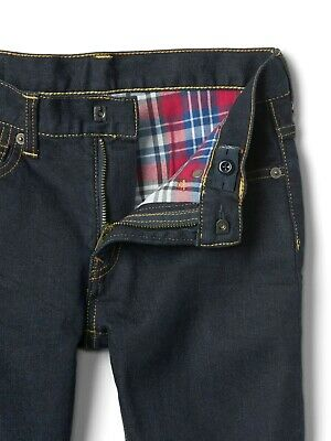 Boys` Jeans Flannel Lined Regular Straight Leg Ages 5 to 16 Warm Dark Blue