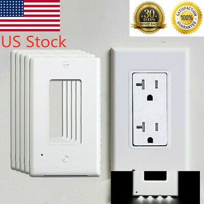 5 Pieces Outlet  Rectangle Cover 4 LED Light Sensor Lights  Wall Socket Plate