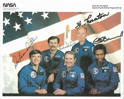 STS-8 NASA Crew Photograph Signed by Astronauts Brandenstein, Truly, Thornton, B