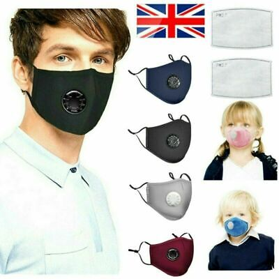 PM2.5 Washable Valved Anti-Droplet Face Mask & Activated Carbon Filters
