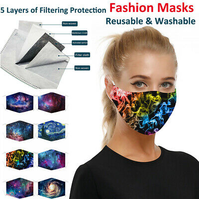 1/3/5 PCS Fashion Masks Cloth Mask Face Covering Reusable Washable PM2.5 Filter