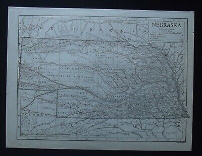 Vintage Map: Nebraska, United States, by Emery Walker, 1926, B/W