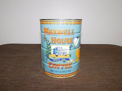 """Vintage Kitchen 6 1/2"""" High Maxwell House Coffee Since 1892 2 Lb Tin Can *Empty*"""
