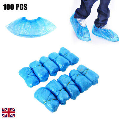 100x Plastic Disposable Shoes Foot Cover Cleaning Overshoes floor Carpet Protect