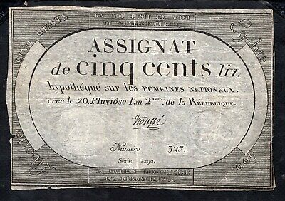 Assignat 500 Livres From France