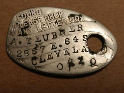 1217----c.1920 August Teubner fire department fob tag of Cleveland