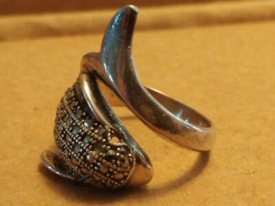 1224----vintage Sterling Silver dolphin ring