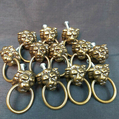 Lot of 12 Vintage Lion Head Drawer Pulls w' Rings and Screws