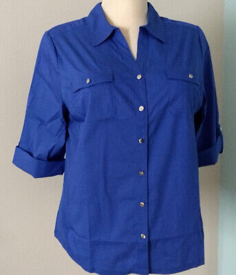 Womens Plus 2X Classic Button-Up Shirt BLUE Croft & Barrow Knit Side Panels NEW