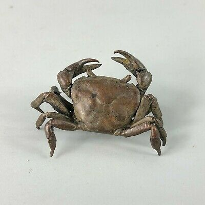 Collectible Chinese Old Pure Copper Handwork Antique Crab Little Ornament Statue