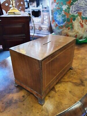 Antique Victorian Edwardian Mahogany Colour Inlaid Wood Classical Money Box