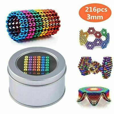 3mm Mixed Color Magic Magnets Ball 216X Neodymium Sphere Puzzle Cube Mini Gifts~