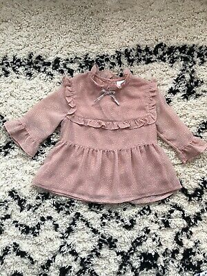 Girls Pink Next Ruffle Collar Blouse 2-3 Years