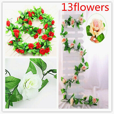 2X 13 Flowers garland 2.5M Artificial Rose Silk Flower Vine Wedding ivy decor