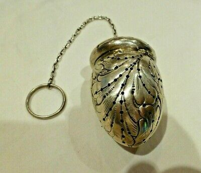 Antique Repousse Sterling Silver Acorn Tea Infuser & St-Silver Chatelaine Chain