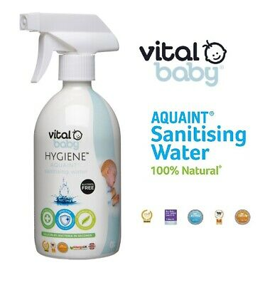 Vital Baby Hygiene Aquaint Sanitiser Water Adult Child Antibacterial Fluid Spray