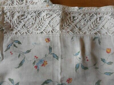 Antique French Floral Voile Cotton Fabric Curtain Crotchet Lace ~Blue yellow Red