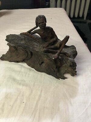 Antique P Holmer Wood Statue Of Black Man With Stick
