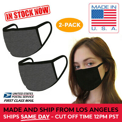 MADE IN USA DARK GREY 2 Pack Double Layer Washable Reusable Cotton Face Mask