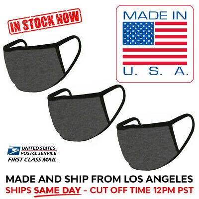MADE IN USA 3 Pack Double Layer Washable Reusable Cotton Face Mask Dark Grey