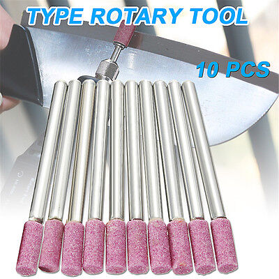 """10x Abrasive Mounted Stones Grinding Rotary Tool 1/8"""" Shank Chainsaw Sharpening"""