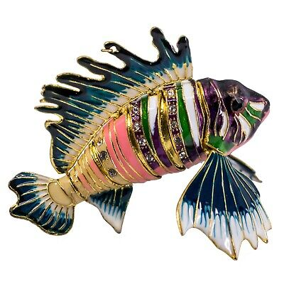 """Cloisonne Enameled Metal Articulated Lionfish Fish Ornament Body Bends 3.5"""" Long"""