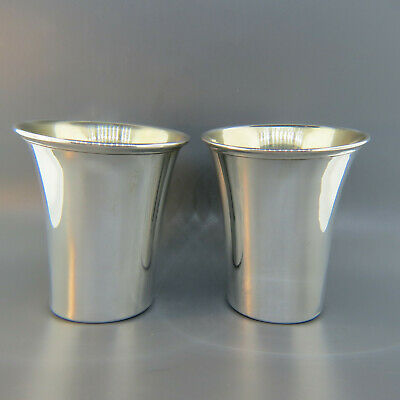 Pair of Sterling Silver Mint Julep Cups Beaker Shape, Gold Interiors