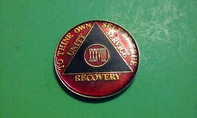 """AA Alcoholics Anonymous Recovery Chip Coin Token Medal XXXVIII 38 Years 1-3/8"""""""