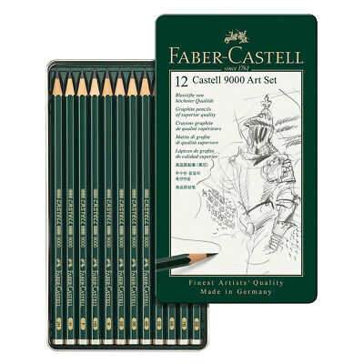 Faber-Castell 9000 Graphite Pencils 12-Pack w/ Metal Storage Tin