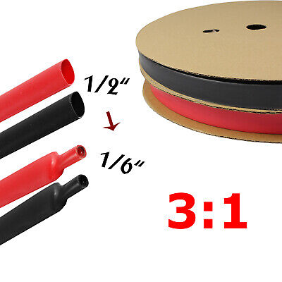 """Black & Red Heat Shrink Tube Tubing Sleeving Wrap Wire cable Insulated 1/2"""""""