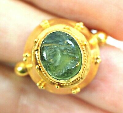 Ancient Intaglio Green Agate Greek King Solid Gold 22K Gold Signet Gold Ring